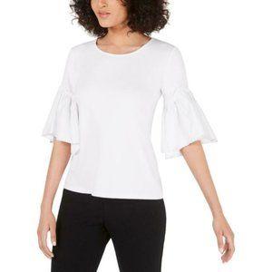 Alfani White Top With Voluminous Sleeve